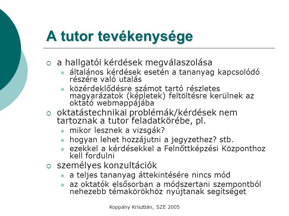 A tutor tevékenysége a hallgatói kérdések megválaszolása