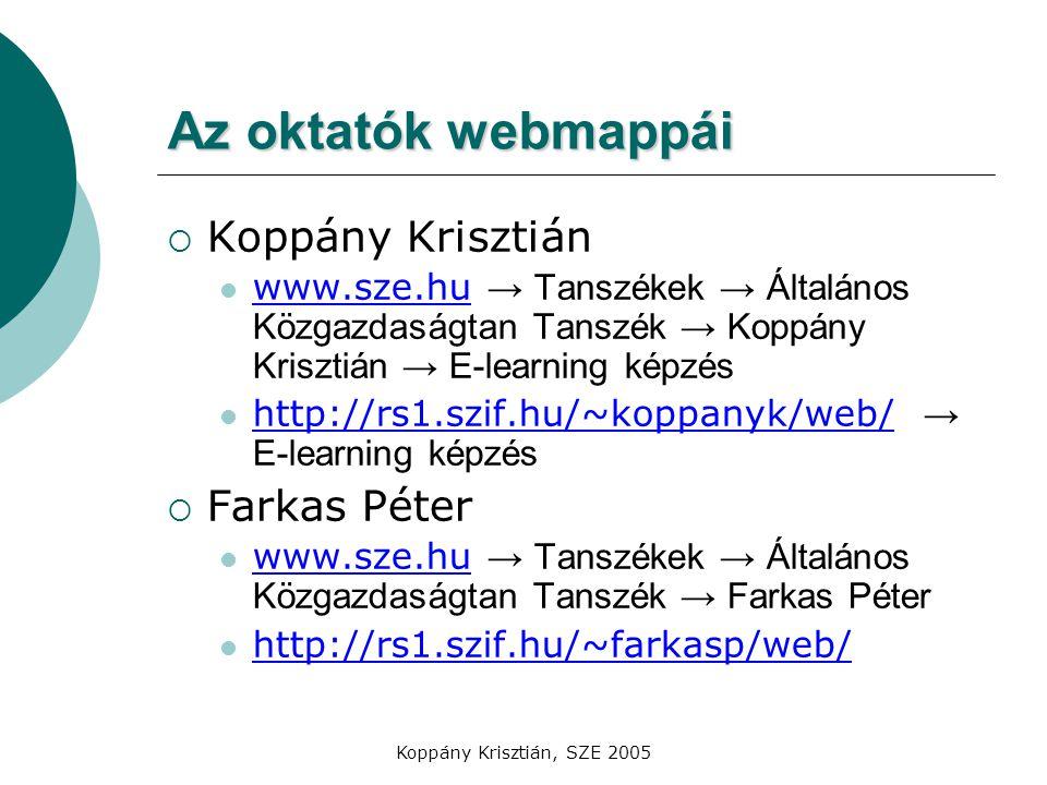 Az oktatók webmappái Koppány Krisztián Farkas Péter
