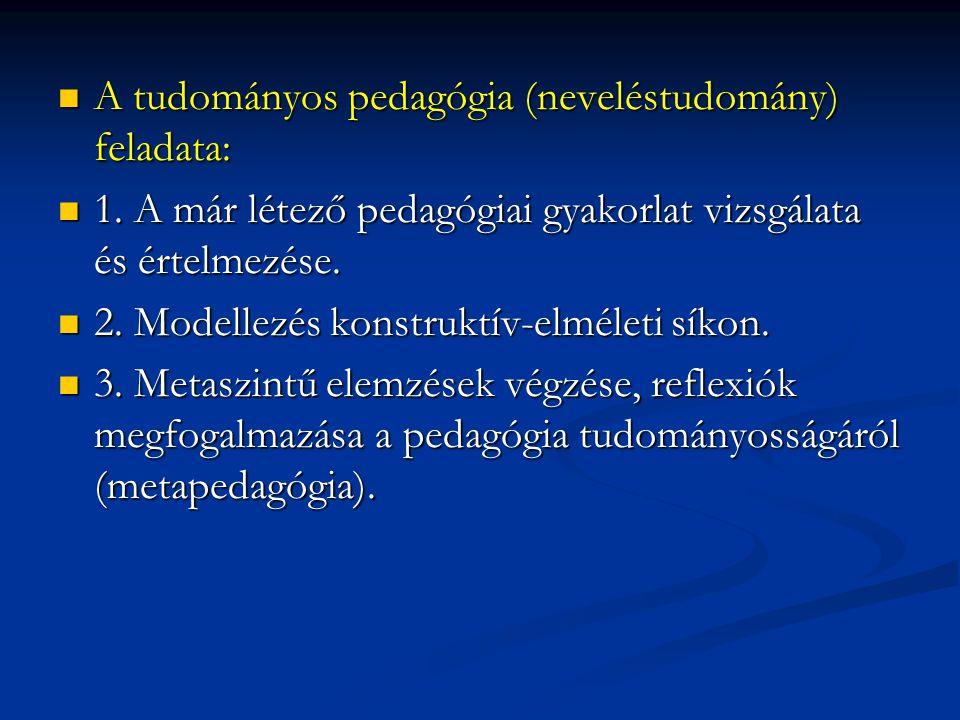 A tudományos pedagógia (neveléstudomány) feladata: