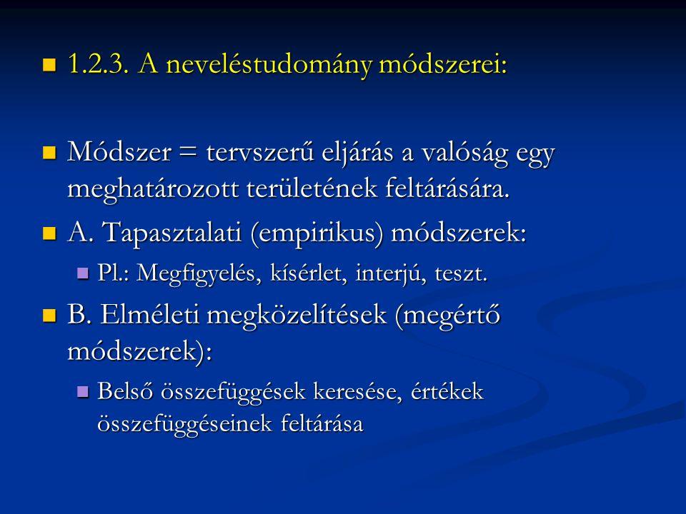 1.2.3. A neveléstudomány módszerei: