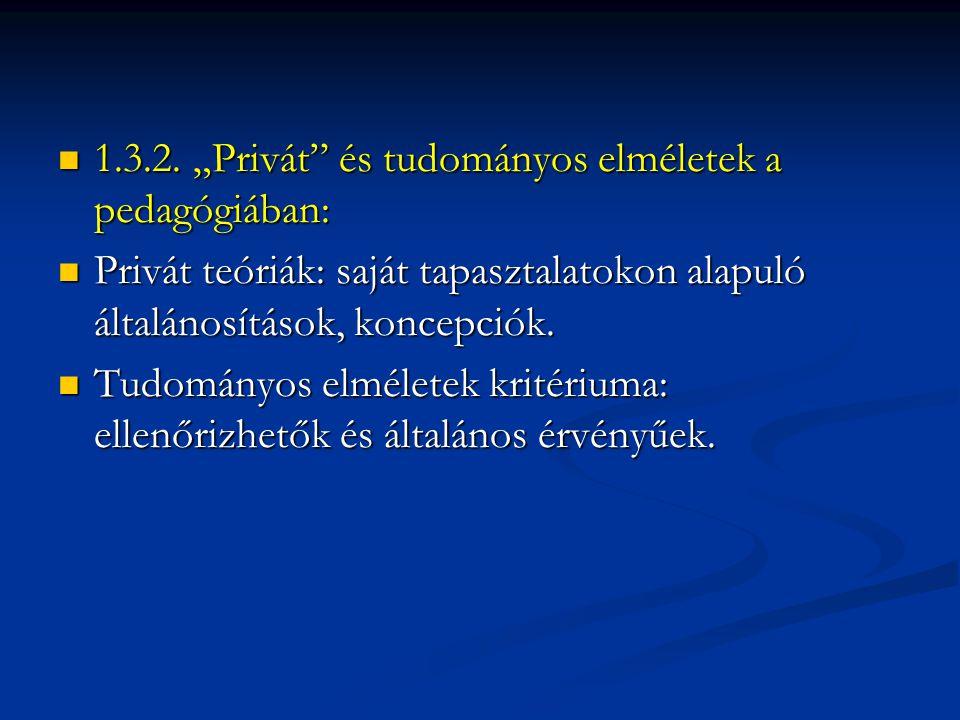 """1.3.2. """"Privát és tudományos elméletek a pedagógiában:"""
