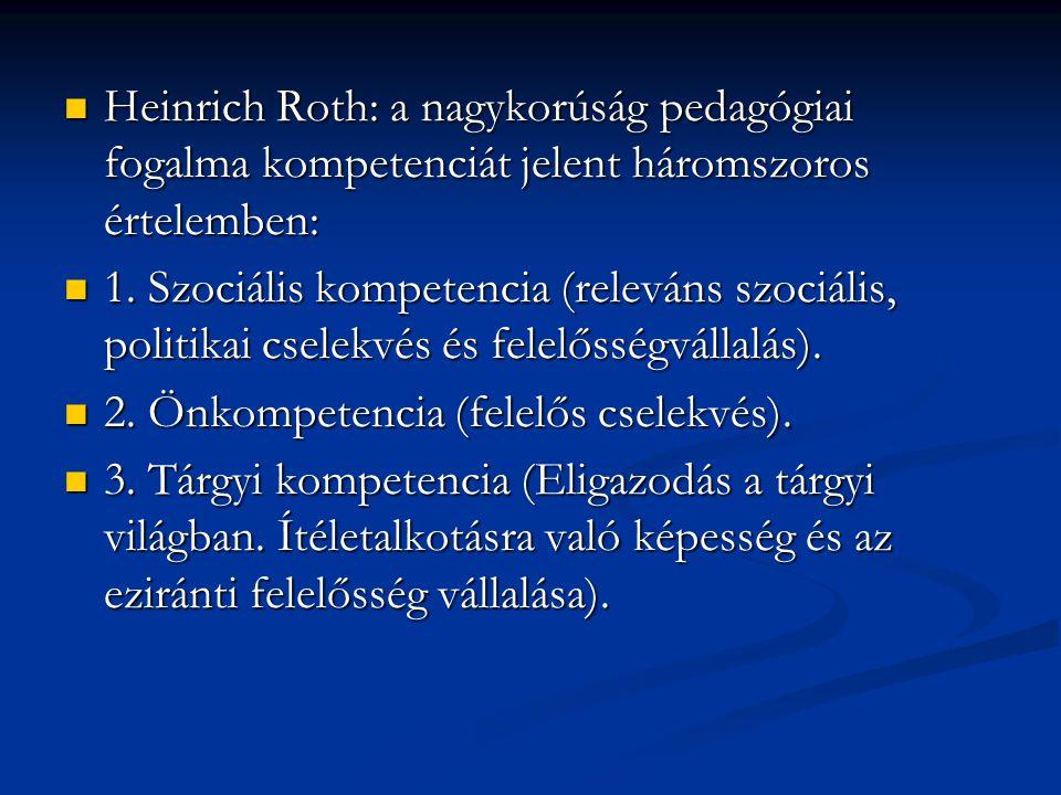 Heinrich Roth: a nagykorúság pedagógiai fogalma kompetenciát jelent háromszoros értelemben: