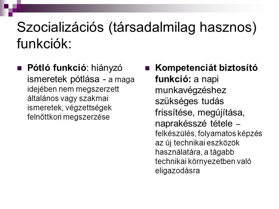 Szocializációs (társadalmilag hasznos) funkciók: