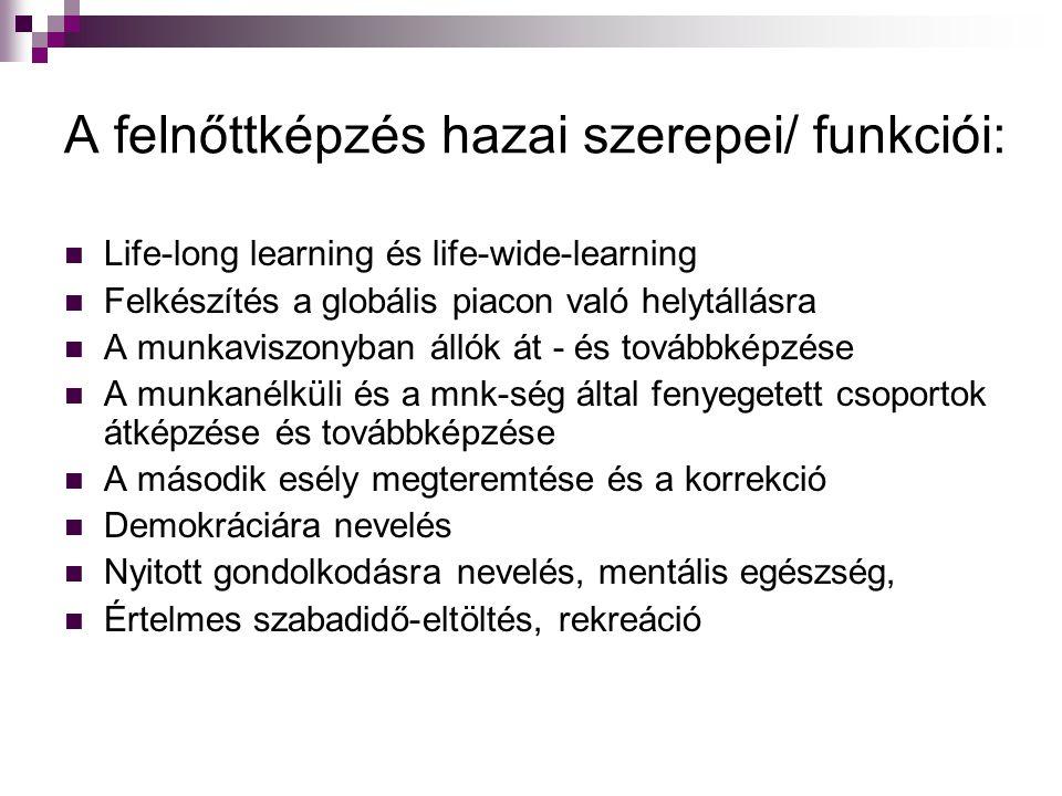A felnőttképzés hazai szerepei/ funkciói: