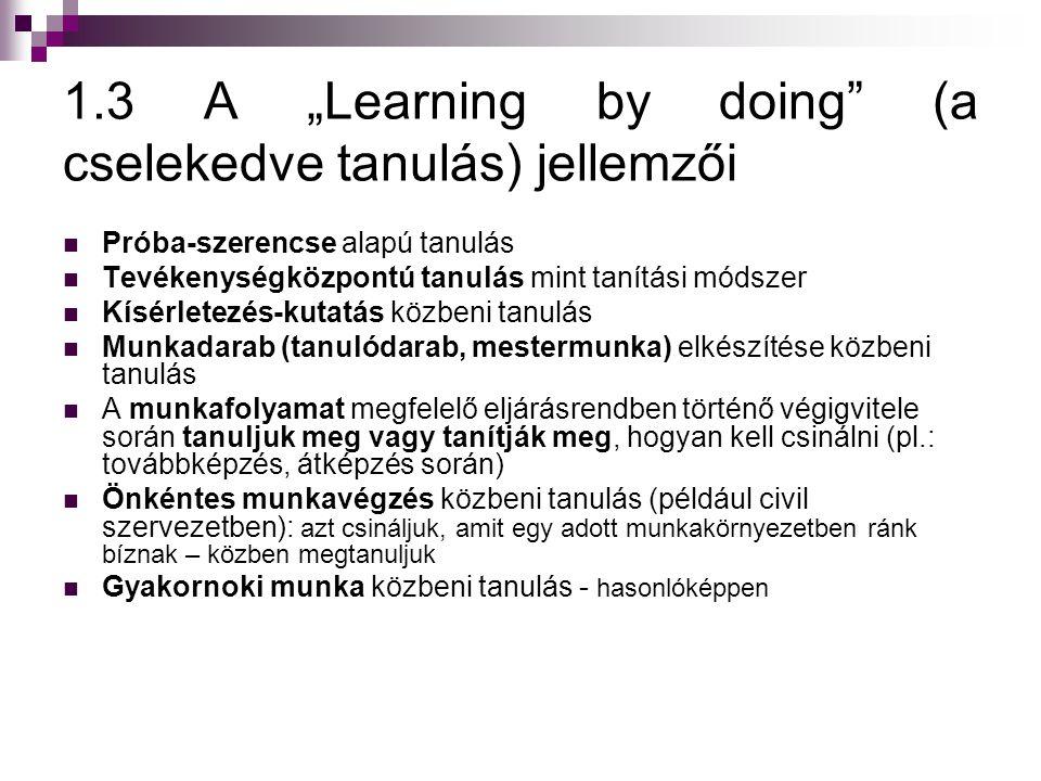 """1.3 A """"Learning by doing (a cselekedve tanulás) jellemzői"""
