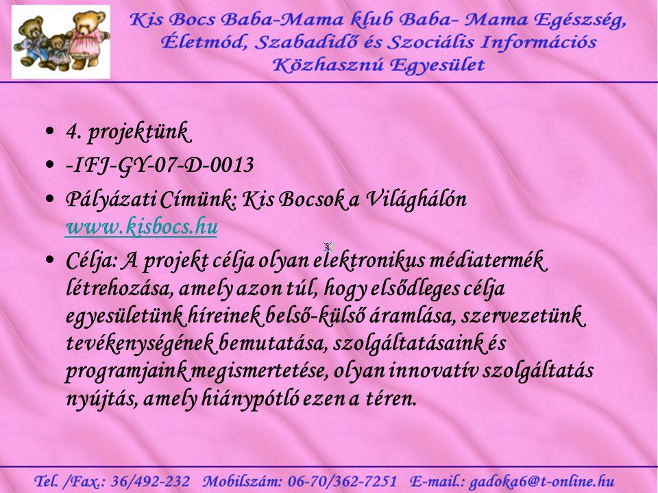 4. projektünk -IFJ-GY-07-D-0013. Pályázati Címünk: Kis Bocsok a Világhálón www.kisbocs.hu.