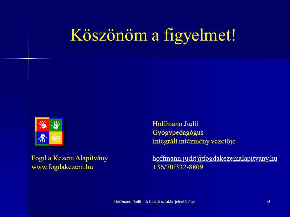 Hoffmann Judit - A foglalkoztatás jelentősége