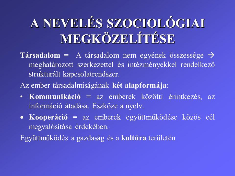 A NEVELÉS SZOCIOLÓGIAI MEGKÖZELÍTÉSE