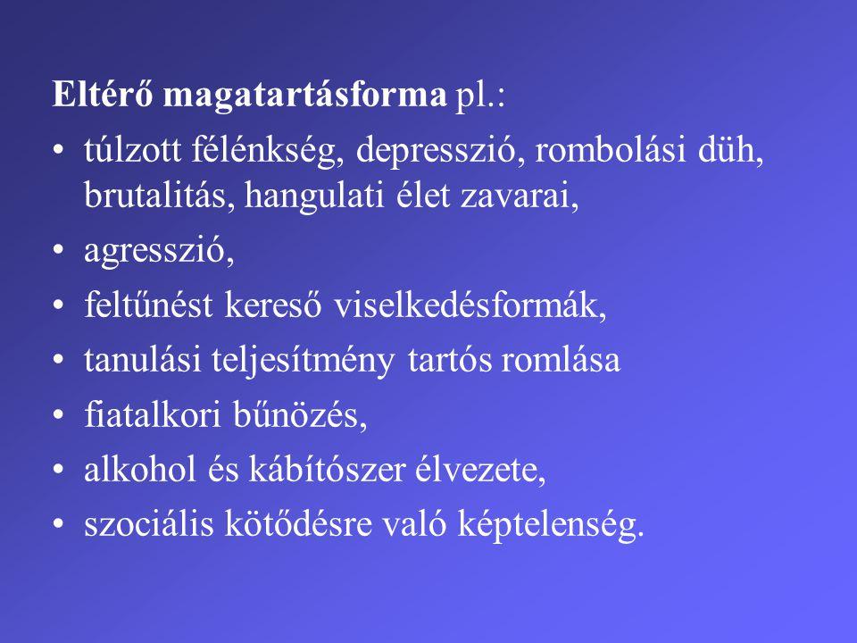Eltérő magatartásforma pl.: