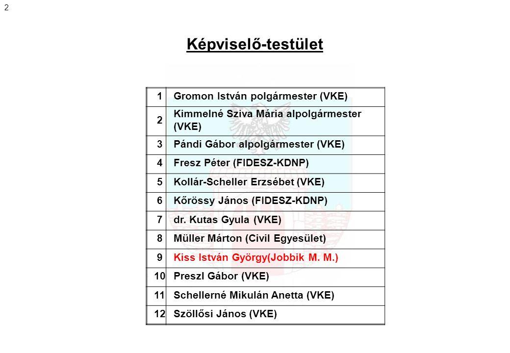 Képviselő-testület 1 Gromon István polgármester (VKE) 2
