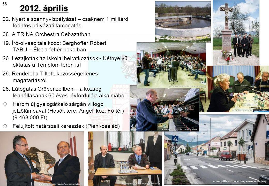 2012. április 56. 02. Nyert a szennyvízpályázat – csaknem 1 milliárd forintos pályázati támogatás.