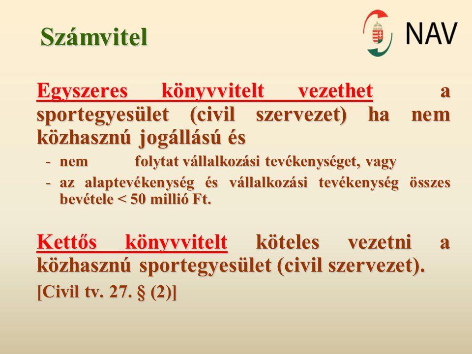 Számvitel Egyszeres könyvvitelt vezethet a sportegyesület (civil szervezet) ha nem közhasznú jogállású és.