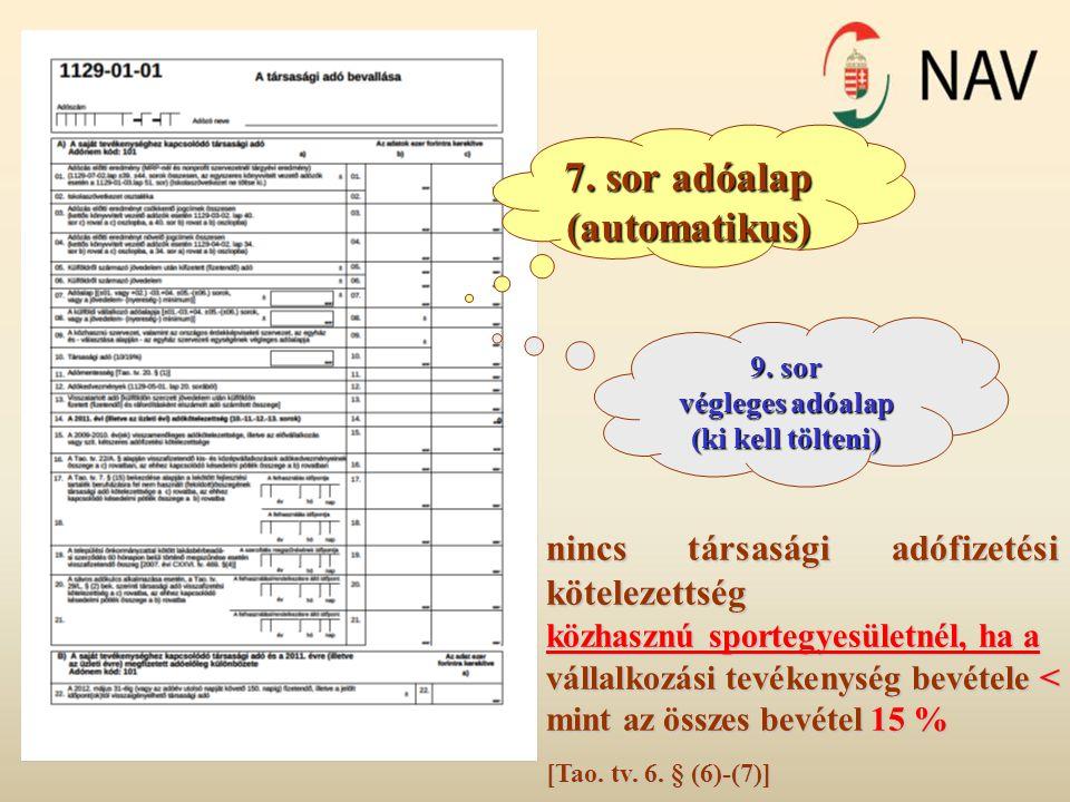 7. sor adóalap (automatikus)