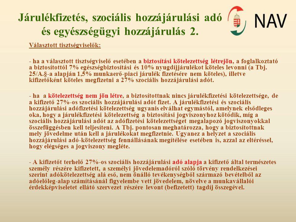 Járulékfizetés, szociális hozzájárulási adó és egyészségügyi hozzájárulás 2.