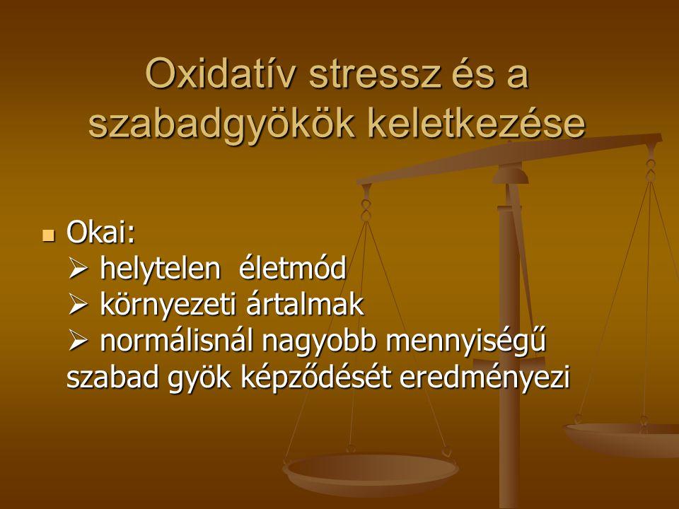 Oxidatív stressz és a szabadgyökök keletkezése