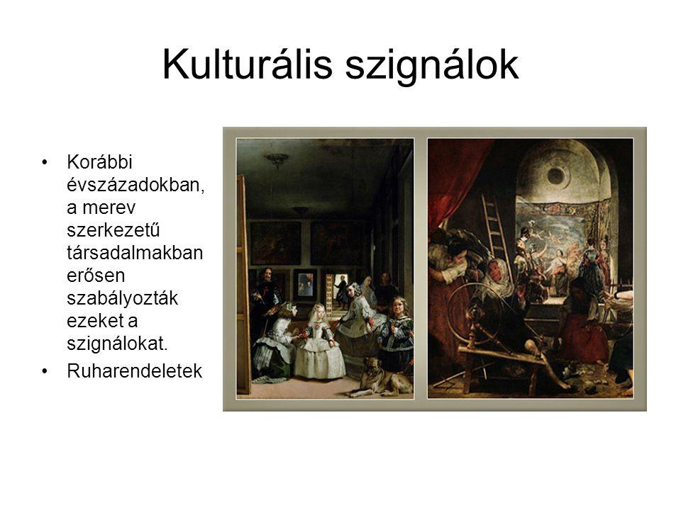 Kulturális szignálok Korábbi évszázadokban, a merev szerkezetű társadalmakban erősen szabályozták ezeket a szignálokat.