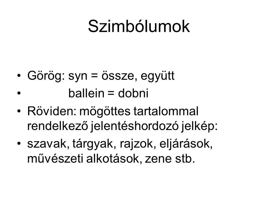 Szimbólumok Görög: syn = össze, együtt ballein = dobni