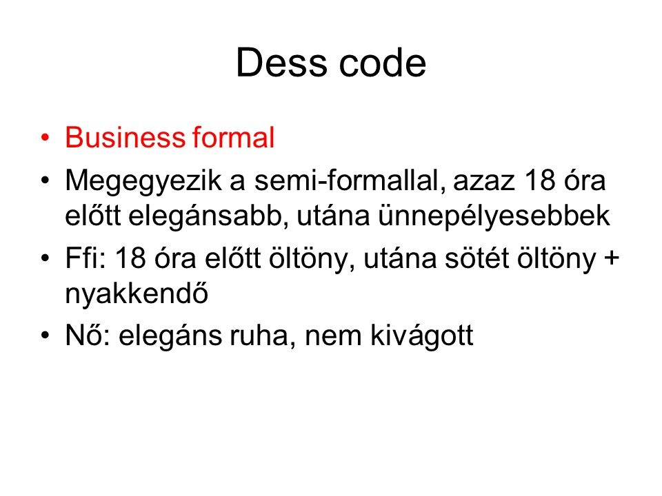 Dess code Business formal