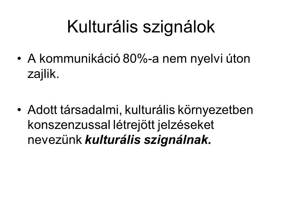 Kulturális szignálok A kommunikáció 80%-a nem nyelvi úton zajlik.