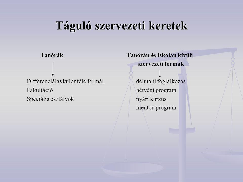 Táguló szervezeti keretek