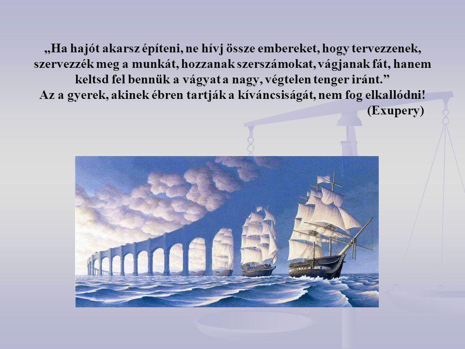 """""""Ha hajót akarsz építeni, ne hívj össze embereket, hogy tervezzenek, szervezzék meg a munkát, hozzanak szerszámokat, vágjanak fát, hanem keltsd fel bennük a vágyat a nagy, végtelen tenger iránt. Az a gyerek, akinek ébren tartják a kíváncsiságát, nem fog elkallódni! (Exupery)"""