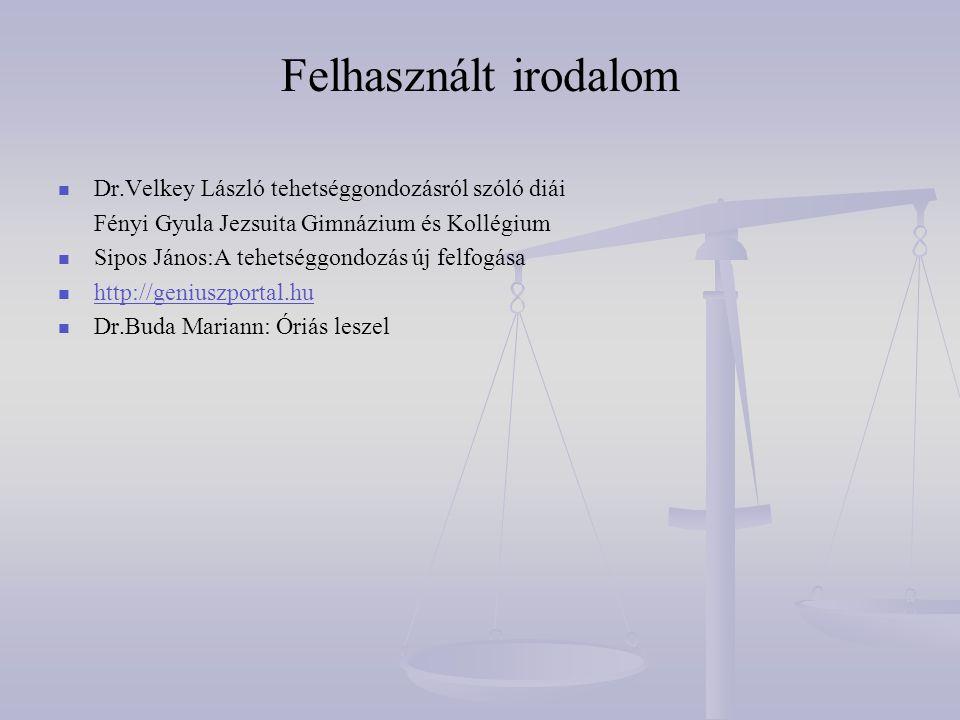 Felhasznált irodalom Dr.Velkey László tehetséggondozásról szóló diái