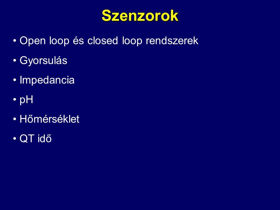 Szenzorok Open loop és closed loop rendszerek Gyorsulás Impedancia pH