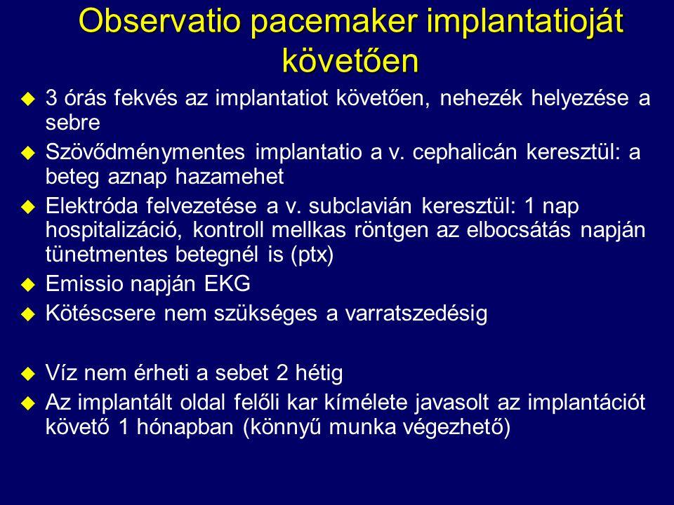 Observatio pacemaker implantatioját követően