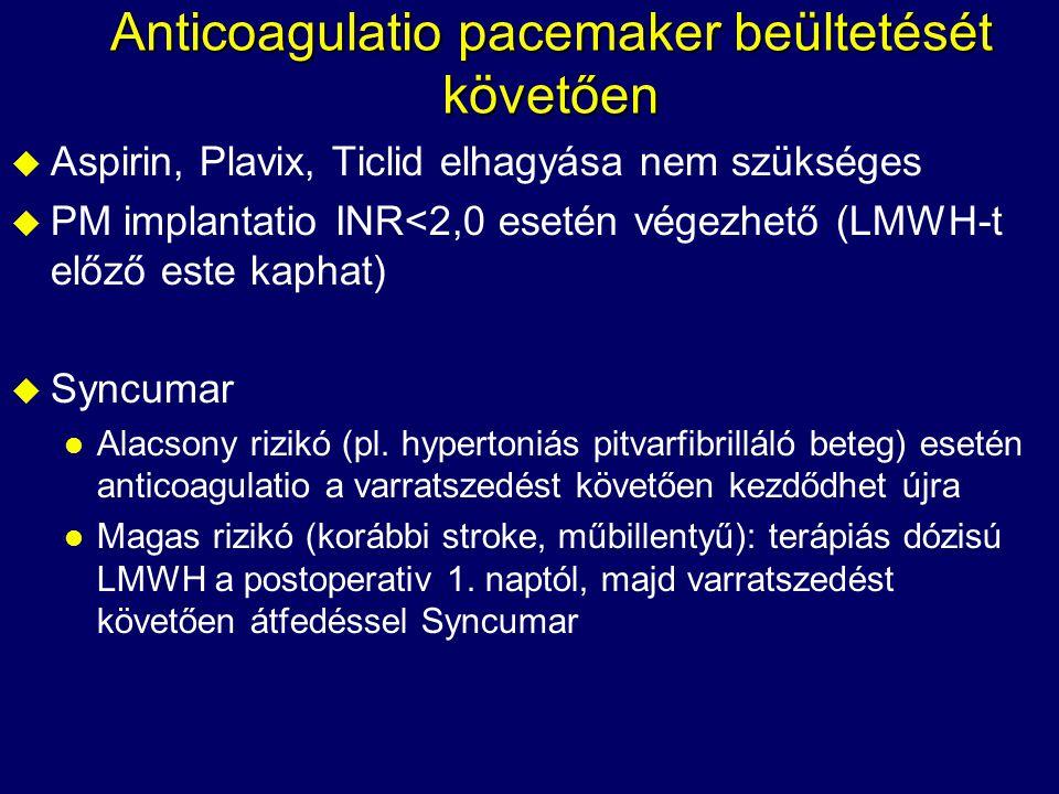 Anticoagulatio pacemaker beültetését követően