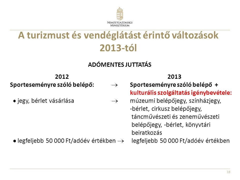 A turizmust és vendéglátást érintő változások 2013-tól