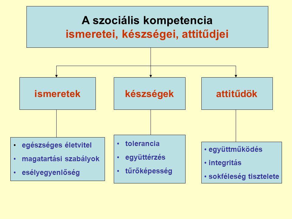 A szociális kompetencia ismeretei, készségei, attitűdjei