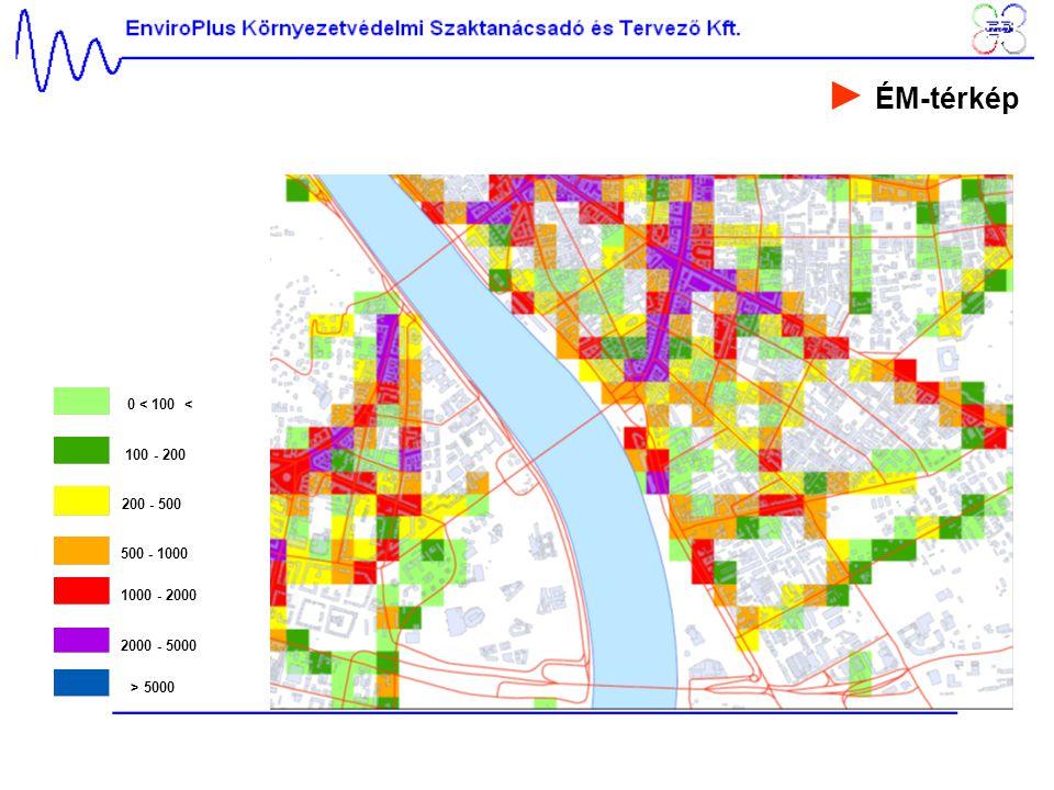 ► ÉM-térkép 0 < 100 < 100 - 200 200 - 500 500 - 1000 1000 - 2000
