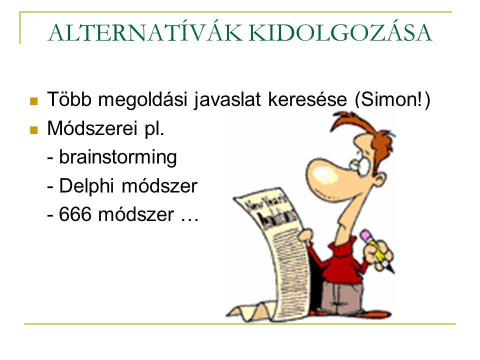 ALTERNATÍVÁK KIDOLGOZÁSA