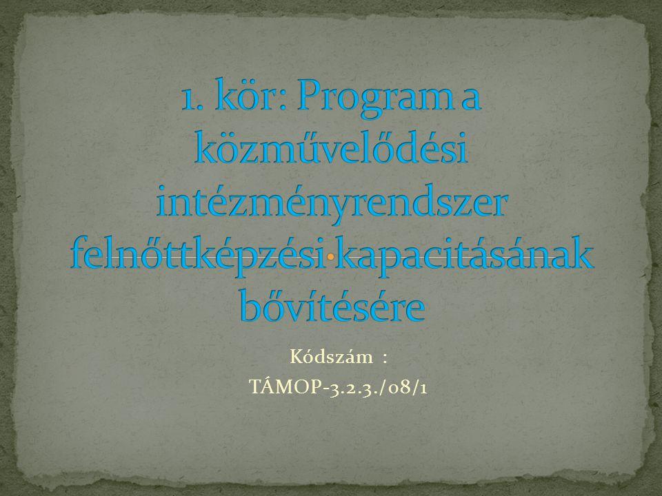 1. kör: Program a közművelődési intézményrendszer felnőttképzési kapacitásának bővítésére