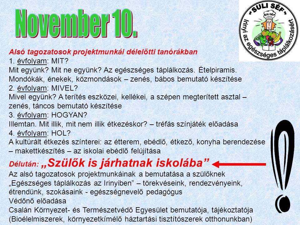 November 10. Alsó tagozatosok projektmunkái délelőtti tanórákban