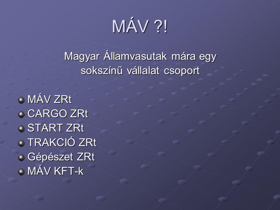 MÁV ! Magyar Államvasutak mára egy sokszínű vállalat csoport MÁV ZRt