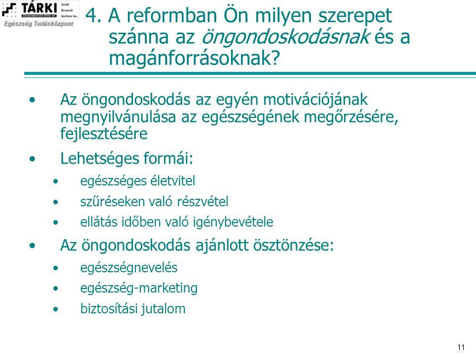 4. A reformban Ön milyen szerepet szánna az öngondoskodásnak és a magánforrásoknak