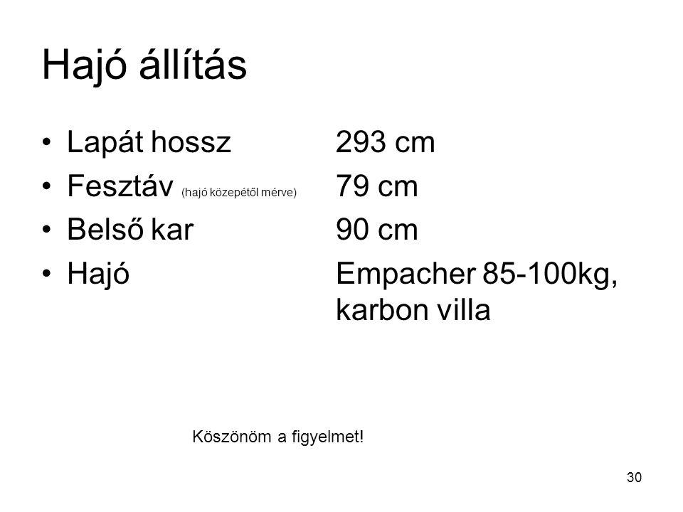 Hajó állítás Lapát hossz 293 cm Fesztáv (hajó közepétől mérve) 79 cm