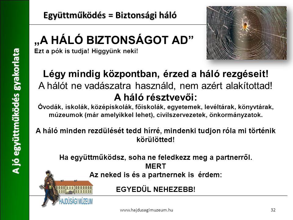 """""""A HÁLÓ BIZTONSÁGOT AD"""