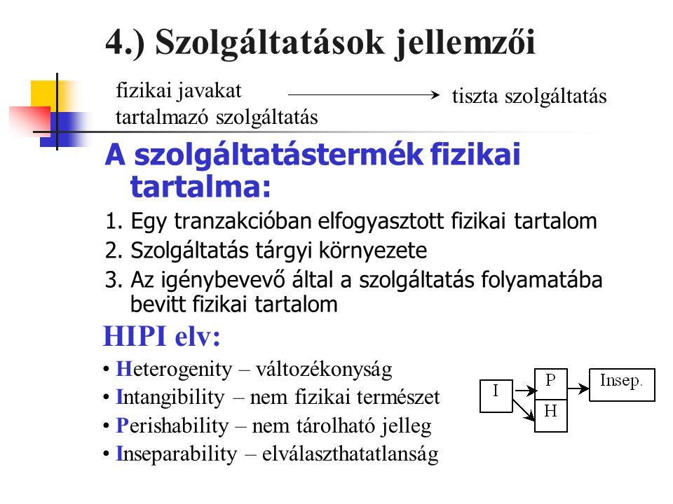 4.) Szolgáltatások jellemzői
