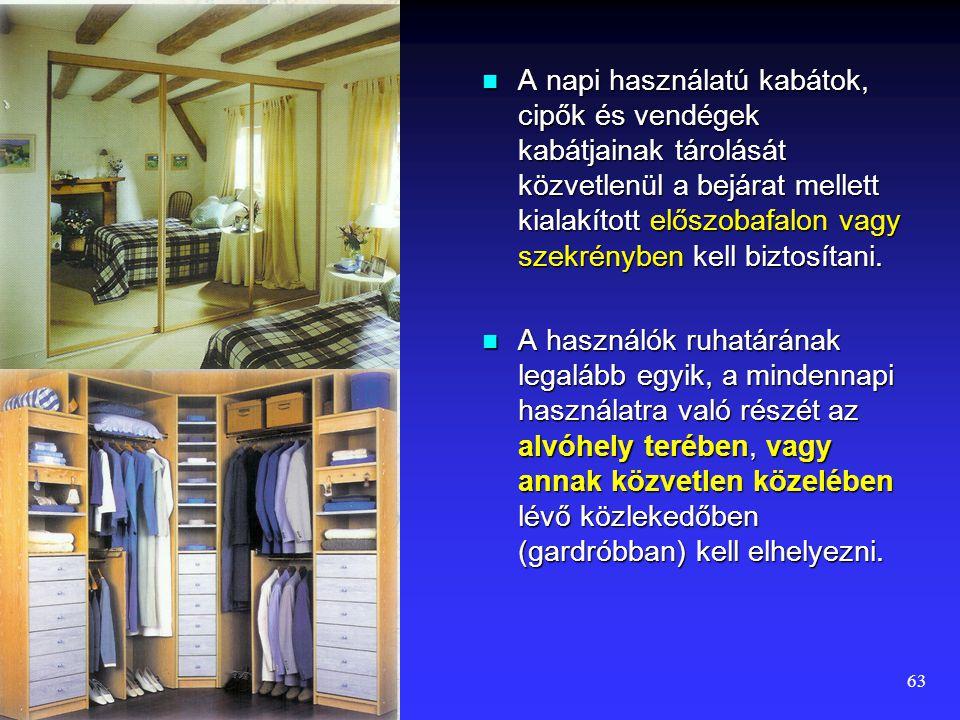 A napi használatú kabátok, cipők és vendégek kabátjainak tárolását közvetlenül a bejárat mellett kialakított előszobafalon vagy szekrényben kell biztosítani.