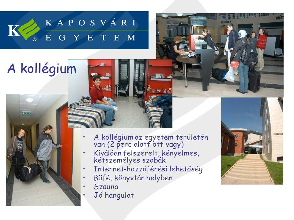 A kollégium A kollégium az egyetem területén van (2 perc alatt ott vagy) Kiválóan felszerelt, kényelmes, kétszemélyes szobák.