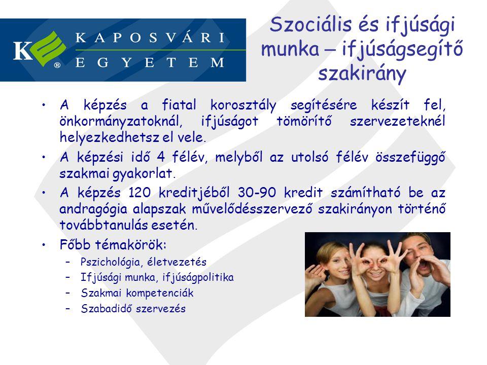 Szociális és ifjúsági munka – ifjúságsegítő szakirány