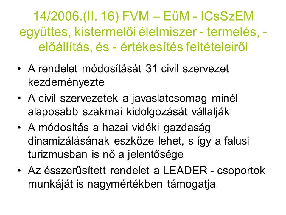 14/2006.(II. 16) FVM – EüM - ICsSzEM együttes, kistermelői élelmiszer - termelés, - előállítás, és - értékesítés feltételeiről
