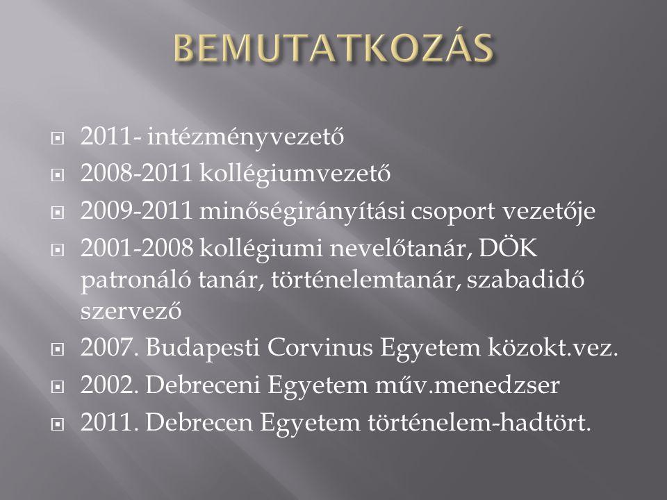 BEMUTATKOZÁS 2011- intézményvezető 2008-2011 kollégiumvezető