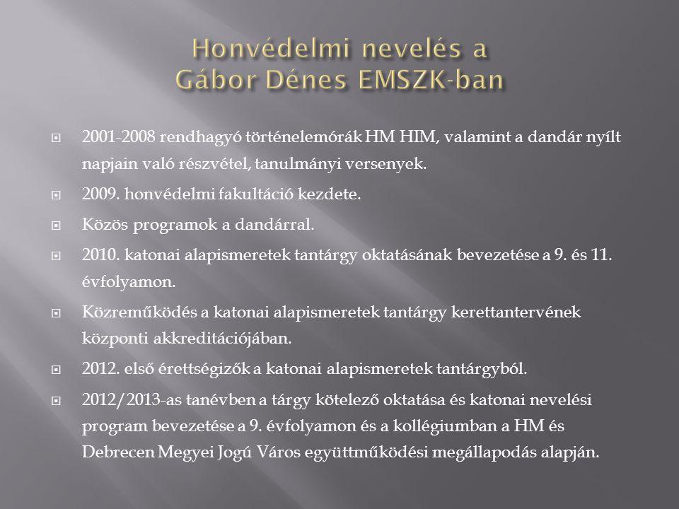 Honvédelmi nevelés a Gábor Dénes EMSZK-ban