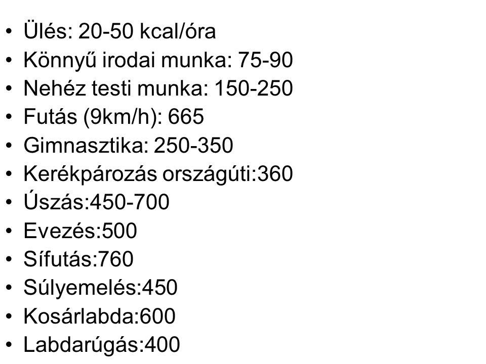 Ülés: 20-50 kcal/óra Könnyű irodai munka: 75-90. Nehéz testi munka: 150-250. Futás (9km/h): 665. Gimnasztika: 250-350.