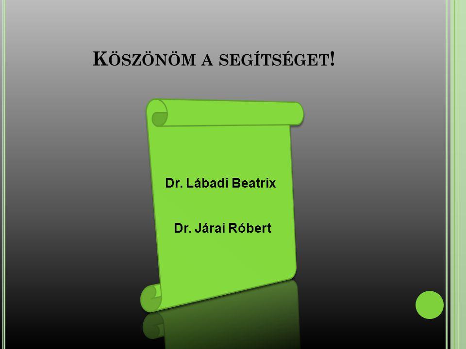 Köszönöm a segítséget! Dr. Lábadi Beatrix Dr. Járai Róbert
