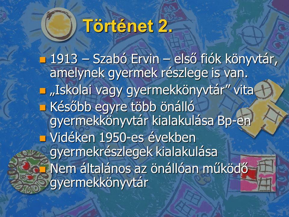 """Történet 2. 1913 – Szabó Ervin – első fiók könyvtár, amelynek gyermek részlege is van. """"Iskolai vagy gyermekkönyvtár vita."""