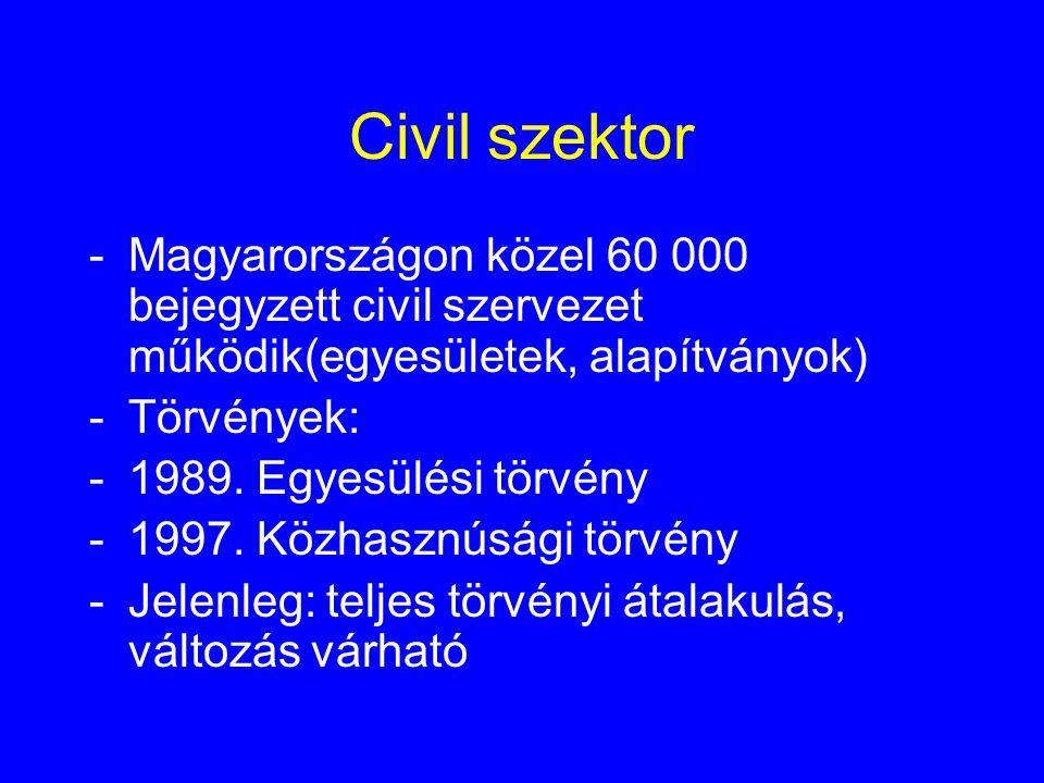 Civil szektor Magyarországon közel 60 000 bejegyzett civil szervezet működik(egyesületek, alapítványok)